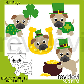 Irish Pug Clip Art (St. Patrick's Day clipart)