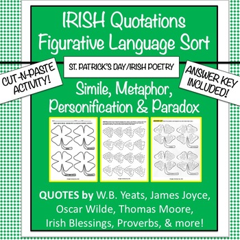 St. Patrick's Day: Figurative Language Cut-and-Paste Activity