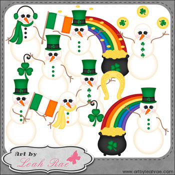 Irish Snowmen 1 - Art by Leah Rae Clip Art & Line Art / Digital Stamps