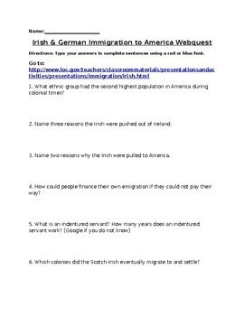 Irish and German Immigration Webquest