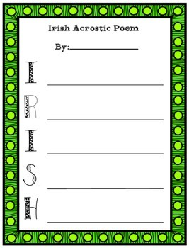 Irish and Lucky Acrostic Poetry Template Worksheets for St. Patrick's Day
