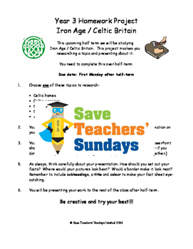 Iron Age and Celtic Britain homework project & presentation Lesson plan & Letter