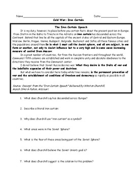 Iron Curtain Worksheets w/ Keys (Speech, Political Cartoons, Map and Poster)
