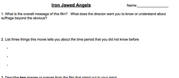 Iron Jawed Angels Film Questions with links to watch edited version of film