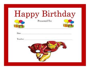 Iron Man Birthday Certificates (Includes 4 Certificates)
