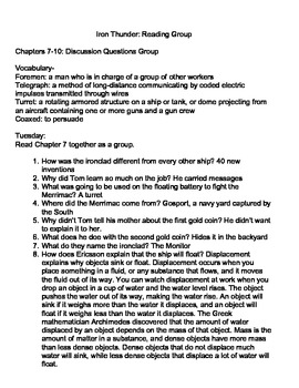 Iron Thunder Literature Group Questions and Reading Group Plan