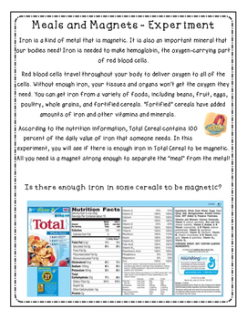 Iron and Total Cereal Experiment - FREEBIE!