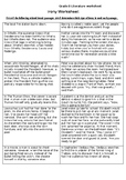 Irony Worksheet (Verbal- Dramatic & Situational)