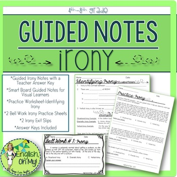Irony, Guided Notes, Worksheets, Practice
