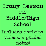 Irony Lesson for Middle/High School with Videos, Guided Notes, and Activity