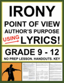 Irony, Point of View and Author's Purpose with Music Lyrics: No Prep Lesson