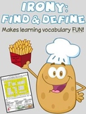 Irony Terms Find & Define: Vocabulary Word Search Worksheet