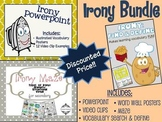 Irony Unit Bundle: Powerpoint, Maze, & Vocabulary Word Search SAVE 15%