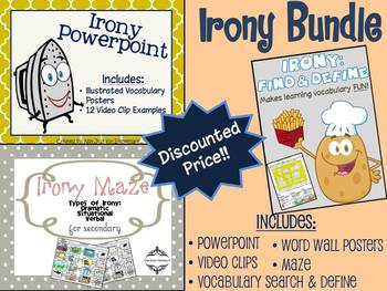 Irony Unit Bundle: Powerpoint, Maze, & Vocabulary Word Sea