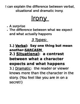 Irony: Verbal, Situational & Dramatic