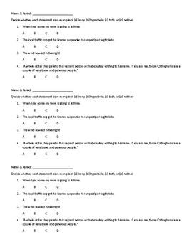 Irony and Hyperbole Quiz