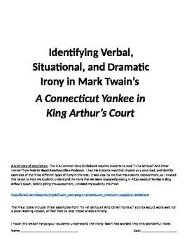 Irony in A Connecticut Yankee in King Arthur's Court