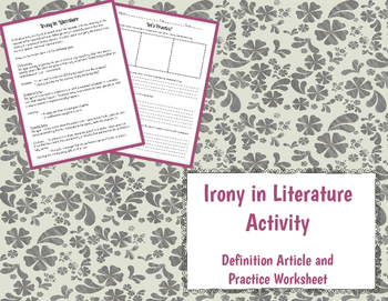 Irony in Literature Activity