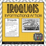 Iroquois: Indigenous (First Nations, Aboriginal) Cultures Informational Article