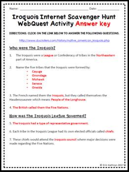 Iroquois American Indians of the Northeast - Internet Scavenger Hunt WebQuest