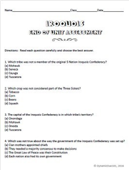 Iroquois Confederacy Lesson Plans Unit with Interactive Notebook Activities +