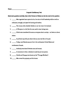 Iroquois Confederacy Unit Test Grade 6 Social Studies