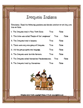 Iroquois Indian Anticipation Guide Common Core!!