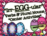 """""""Irr-EGG-ular"""" Verbs and Plural Nouns Center Activities {CCSS Aligned}"""