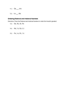 Irrational Numbers Practice