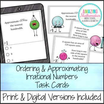 Irrational Numbers Task Cards ~ Ordering and Approximating