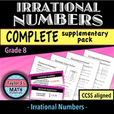 Irrational Numbers Worksheets - Complete Supplementary Pack & Word Wall