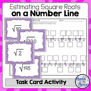 Estimating Square Roots on a Number Line - Task Card Activ