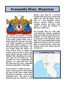 Irrawaddy River, Myanmar - Reading Comprehension and Substitute Plan