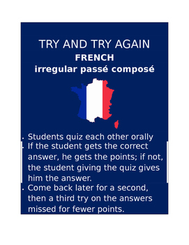 Irreg Passé Composé FRENCH Try and Try Again