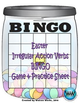 Irregular Action Verbs Easter BINGO Game & Practice Sheet