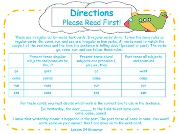 Irregular Action Verbs Task Cards for Journeys Grade 2