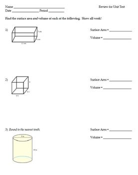 Irregular Area, Shaded Area, Surface Area & Volume - Review & Unit Test