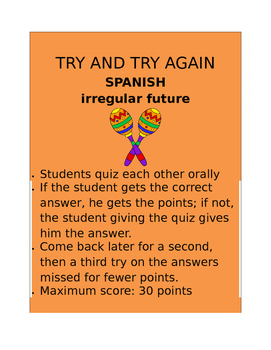 Irregular Future SPANISH  Try and Try Again