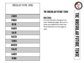 Irregular Future: Spanish Interactive Notebook Page