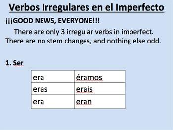 Irregular Imperfect Verbs in Spanish