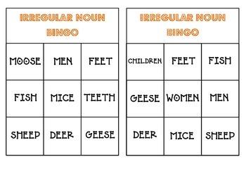Irregular Noun Bingo