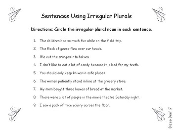 Irregular Plural Nouns NO PREP