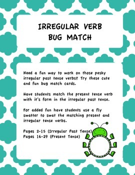 Irregular Past Tense Bug Match