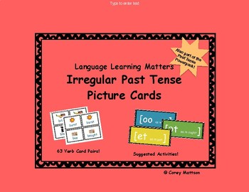 Irregular Past Tense Cards with Pictures