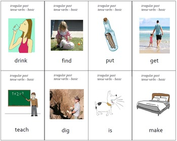 """Different"" Irregular Past Tense Practice Cards - Set of 64"