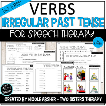 Irregular Past Tense Verb Activities for Speech Therapy