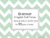 Irregular Past Tense Verb Warm Up and Activity Cards