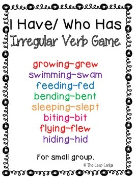 Irregular Past Tense Verb Game