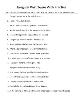 Irregular Past Tense Verb Practice  - Middle and High School