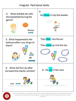 Irregular Past Tense Verb Task Card II, with Answers Provided